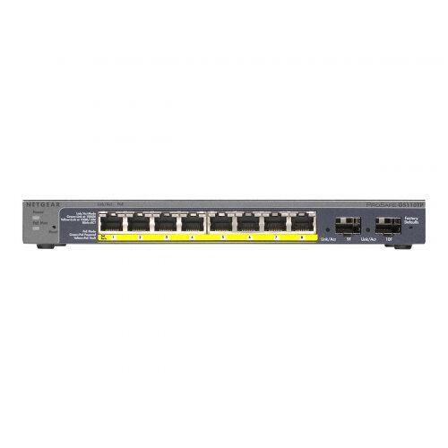 NETGEAR Pro GS110TPP - Switch - smart - 8 x 10/100/1000 (PoE+) + 2 x 10/100/1000 (uplink) - desktop - PoE+ (120 W)