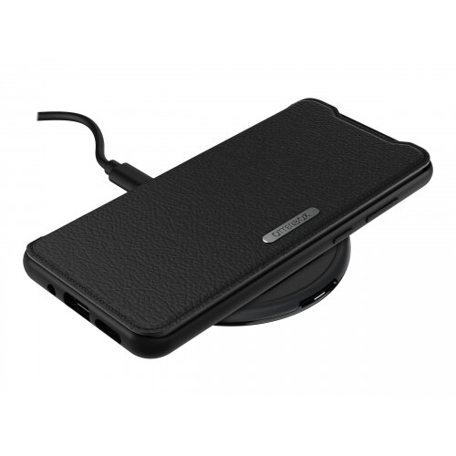 OtterBox Strada Series - Flip cover for mobile phone - leather, polycarbonate - shadow black - for Samsung Galaxy S20 Ultra, S20 Ultra 5G