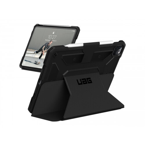 UAG Rugged Case for iPad Pro 12.9 (4th Gen, 2020) - Metropolis Black - Flip cover for tablet - rugged - polyurethane, thermoplastic polyurethane (TPU) - black - 12.9&uot; - for Apple 12.9-inch iPad Pro (4th generation)