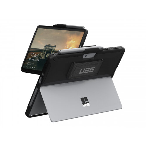 UAG Rugged Case for Microsoft Surface Go/2 w/Handstrap - Scout Black - Back cover for tablet - black - for Microsoft Surface Go, Go 2