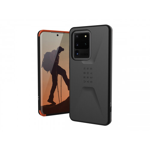 UAG Rugged Case for Samsung Galaxy S20 Ultra (6.9-inch screen) - Civilian Black - Back cover for mobile phone - rugged - black - 6.9&uot; - for Samsung Galaxy S20 Ultra, S20 Ultra 5G