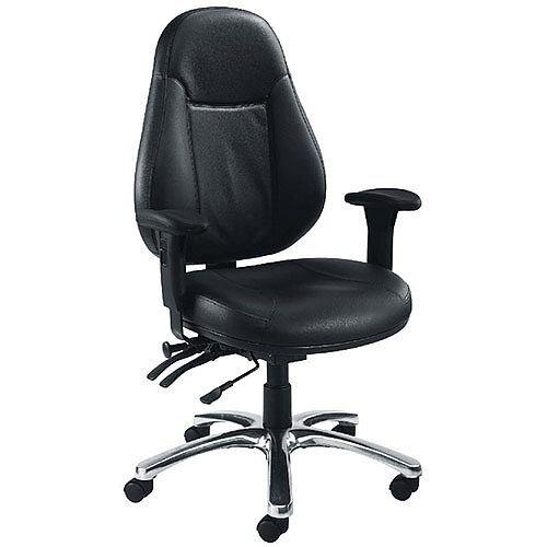 Avior 24 Hour Leather Task Operator Office Chair Black Kf03359