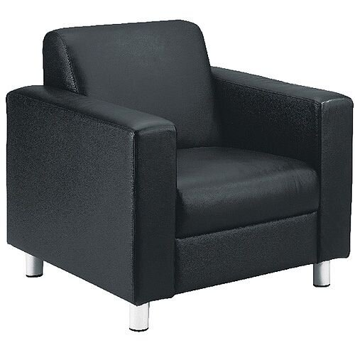 Avior Leather Faced Executive Reception Armchair Black KF03529
