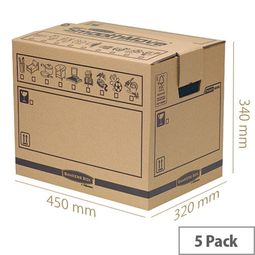 Fellowes Brown Packing Bankers Cardboard Boxes SmoothMove 320x450x340mm (Pack of 10)