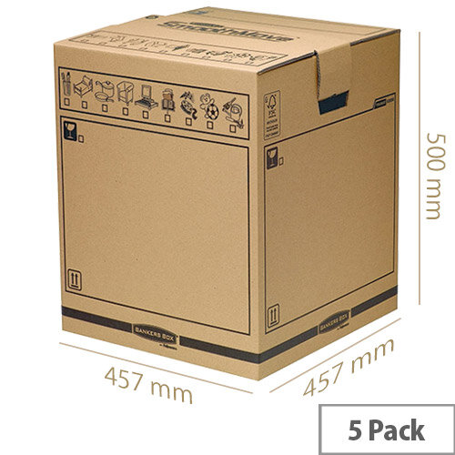 Fellowes Bankers Box Brown Smoothmove Tea Chest 457x457x500mm (Pack of 5)