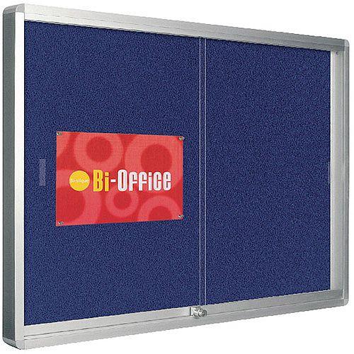 Bi-Office Lockable Glazed Display Case 1000x700mm Blue Felt Aluminium Frame VT690107160