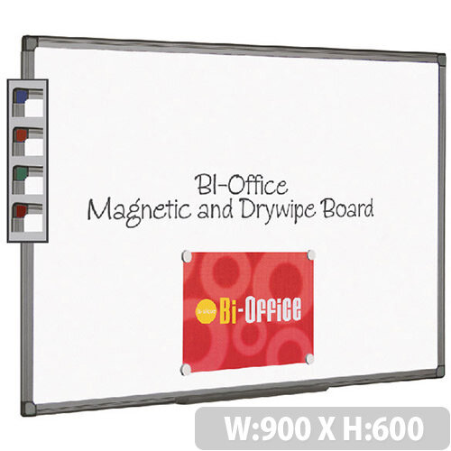 Bi-Office Magnetic Whiteboard 900x600mm Aluminium Finish MB0706186