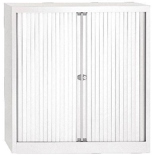Bisley Chalk Euro Tambour White Shutter 2 Shelves