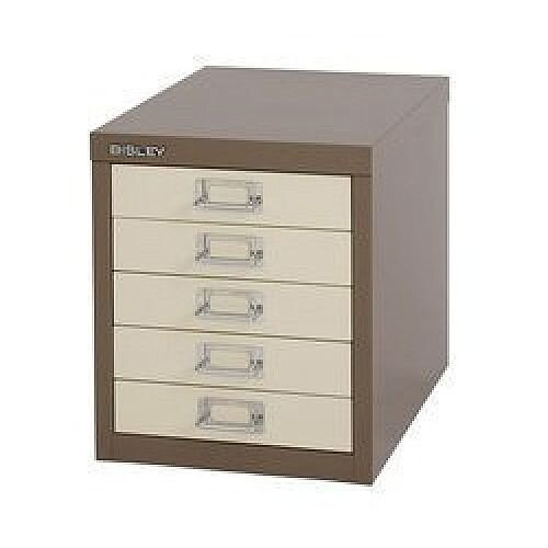 Bisley Multi-Drawer Cabinet 12 inches 5 Drawer Non-Locking Coffee/Cream 12/5