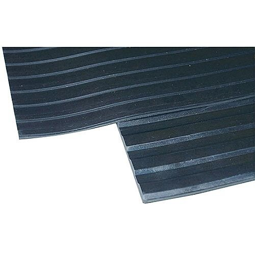 Broad Ribbed Matting 5mm Thick, 1200mm Wide &1 Linear Metre In Length. Black In Colour. Ideal For Industrial &Commercial Applications Including Walkways &Ramps. Insulates Cold Concrete Flooring.