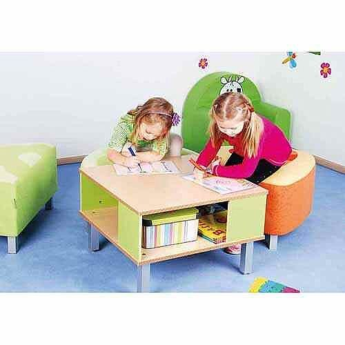 Premium Preschool Table With Shelf W65xL65xH40cm