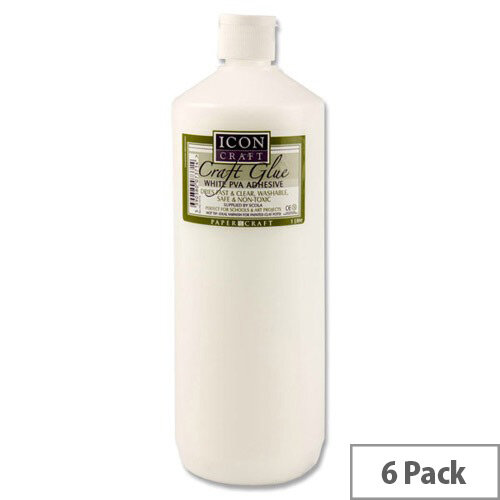PVA Icon Craft Glue 1Ltr Bottle Pack of 6