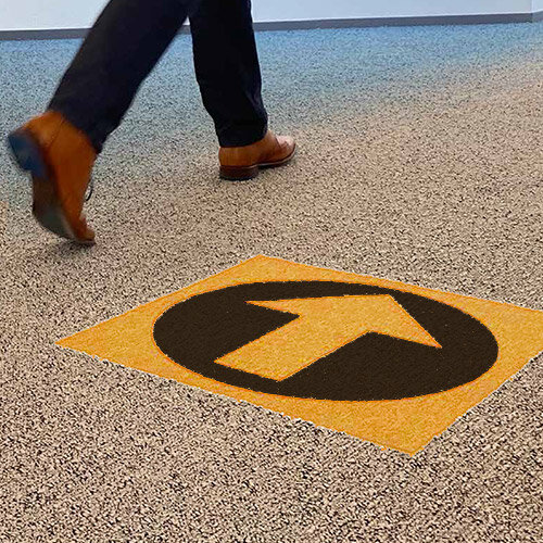 Desso Icons Wayfinding Carpet Tiles 50x50cm Yellow Arrow