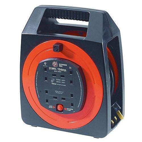 Extension Cable Semi-Enclosed Reel 20 Metre 13Amp 4-Socket 377109