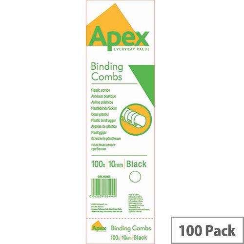Fellowes Apex Plastic Comb Black 10mm Pack of 100