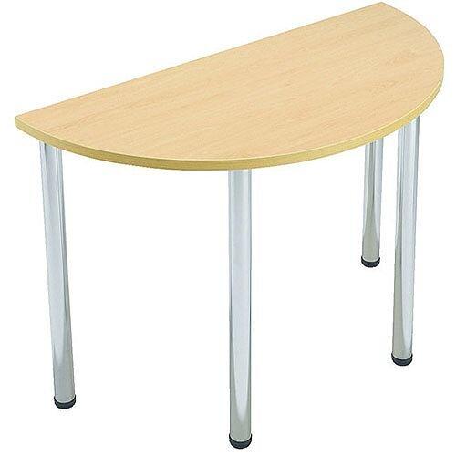 Semi Circular Meeting Room Table Folding Leg Beech Jemini
