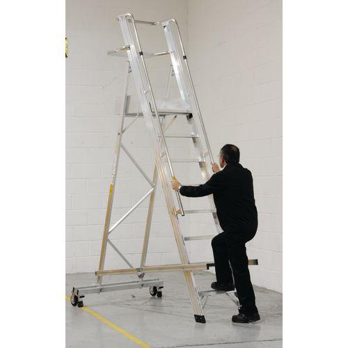 EN131 Mobile Folding 10 Tread Ladder With Platform Max Height 3.65M Platform Height 2.65M 124986