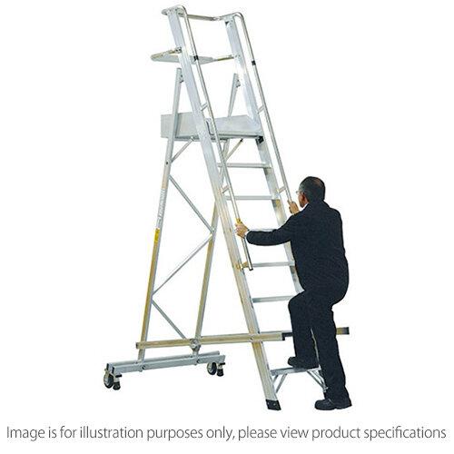 EN131 Mobile Folding 12 Tread Ladder With Platform Max Height 4.2M Platform Height 3.2M