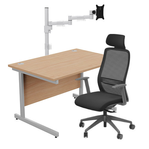 Home Office Bundle - Ashford Straight Office Desk Beech W1200mm With NV Posture Chair Black &Leap White Single Monitor Arms
