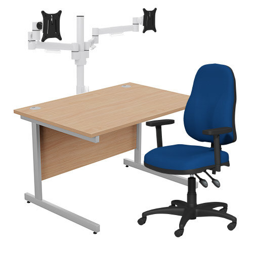 Home Office Bundle - Ashford Straight Office Desk Beech W1200mm With OA Series Blue Fabric Chair &Leap White Double Monitor Arms