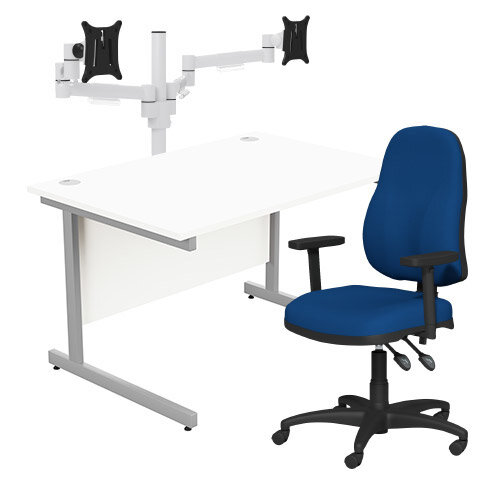Home Office Bundle - Ashford Straight Office Desk White W1200mm With OA Series Blue Fabric Chair &Leap White Double Monitor Arms