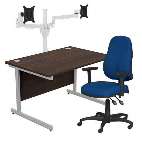 Home Office Bundle - Ashford Straight Office Desk Dark Walnut W1200mm With OA Series Blue Fabric Chair &Leap White Double Monitor Arms