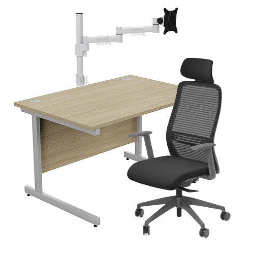 Home Office Bundle - Ashford Straight Office Desk Urban Oak W1200mm With NV Posture Chair Black &Leap White Single Monitor Arms