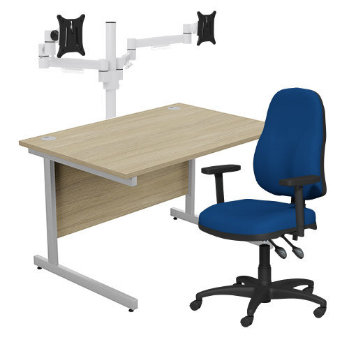 Home Office Bundle - Ashford Straight Office Desk Urban Oak W1200mm With OA Series Blue Fabric Chair &Leap White Double Monitor Arms