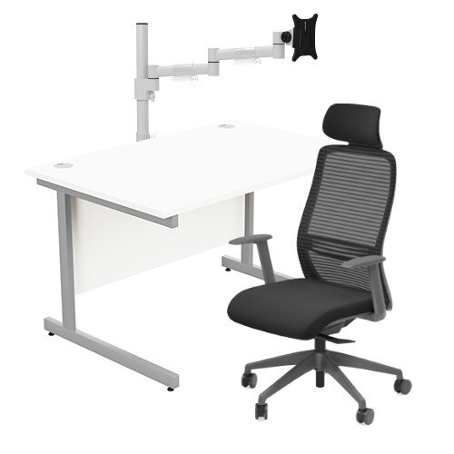 Home Office Bundle - Ashford Straight Office Desk White W1200mm With NV Posture Chair Black &Leap White Single Monitor Arms