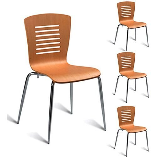 Verona Maple Café Side Chair - Maple Veneer Naturally Polished Pack of 4