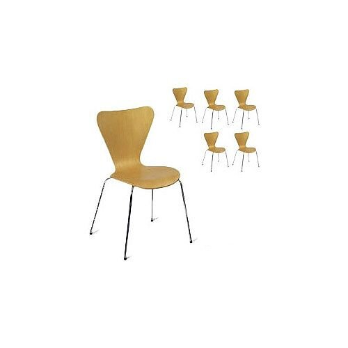 Torino Polished Natural Maple Side Café Chair Pack of 6