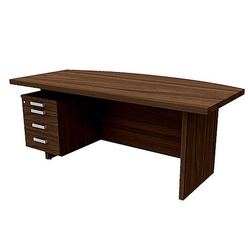 Grand Executive Office Desk With Left Side Drawers 1800mm Dark Walnut