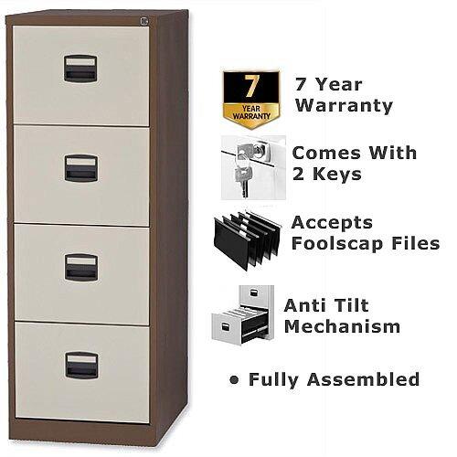 4 Drawer Steel Filing Cabinet Lockable Brown &Cream Trexus By Bisley