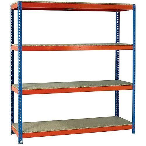 2.5m High Heavy Duty Boltless Chipboard Shelving Unit W2100xD600mm 500kg Shelf Capacity With 4 Shelves - 5 Year Warranty