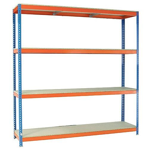 2m High Heavy Duty Boltless Chipboard Shelving Unit W2400xD750mm 400kg Shelf Capacity With 4 Shelves - 5 Year Warranty