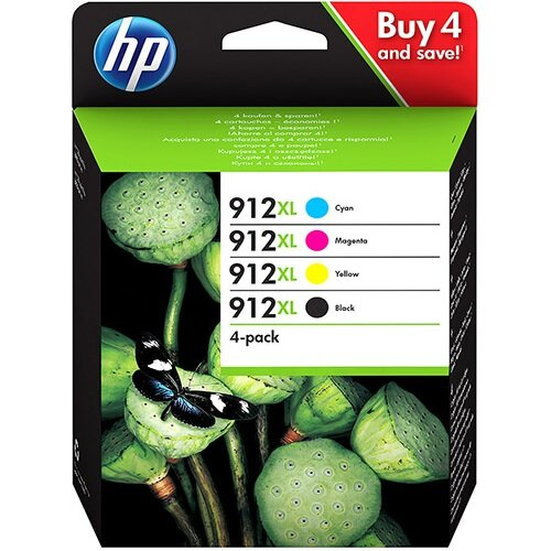 Hewlett Packard 912XL Inkjet Cartridge High Yield Black/Cyan/Magenta/Yellow Ref 3YP34AE Pack of 4