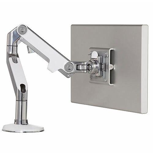 Humanscale M8.1 Monitor Arm Polished Aluminium With White Trim VESA Mount Compatible