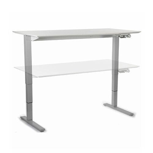 HumanScale Float Height Adjustable Sit Stand Desk White Top &Silver Base W1200 - 1400mm