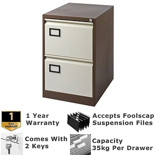 2-Drawer Filing Cabinet Coffee &Cream Jemini By Bisley -  For Foolscap Suspension Filing - Lockable - 5 Year Warranty