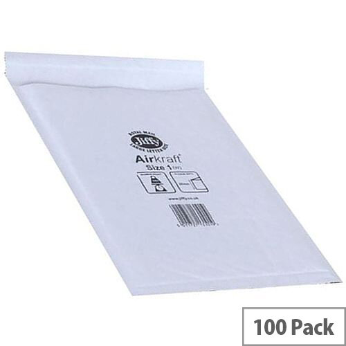 Jiffy Mailer Size 3 Superlite Foam Lined 220x320mm White Pack of 100