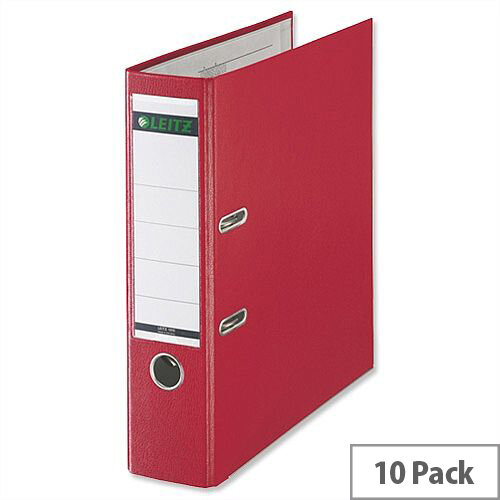 Leitz Foolscap Lever Arch File Red Pack 10