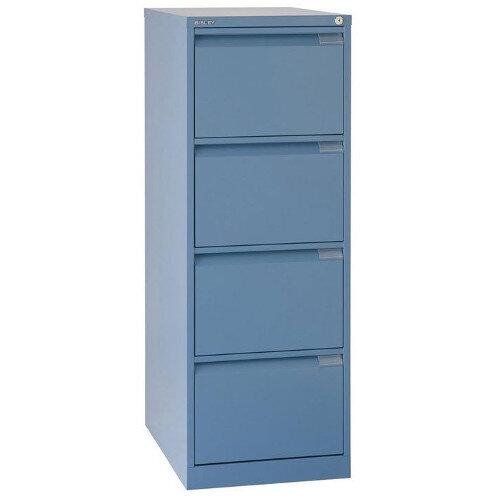 4 Drawer Steel Filing Cabinet Flush Front Blue Bisley BS4E