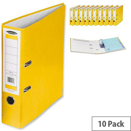 Concord Classic Lever Arch File Printed Lining Capacity 70mm A4 Yellow Pack of 10
