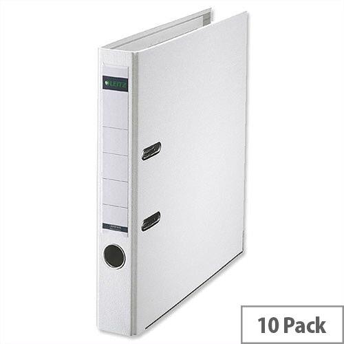 Leitz White Mini Lever Arch File Plastic A4 Pack 10