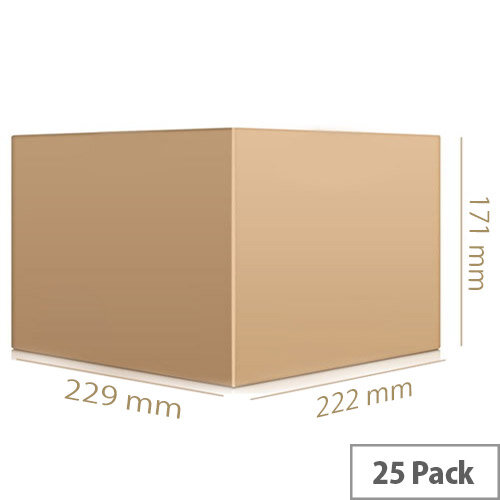 Packing Corrugated Cardboard Boxes Single Wall Strong Flat Packed 229x222x171mm Pack 25