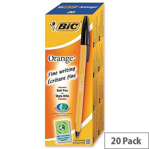 Bic Orange Ballpoint Pen Black Pack 20