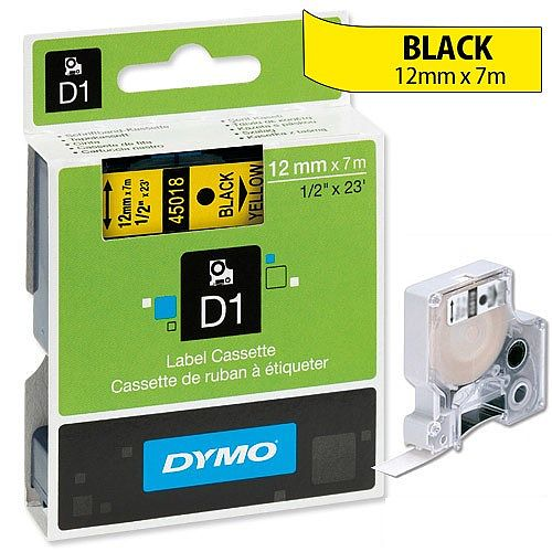 Dymo D1 Tape 45808 19mmx7m Black on Yellow S0720880
