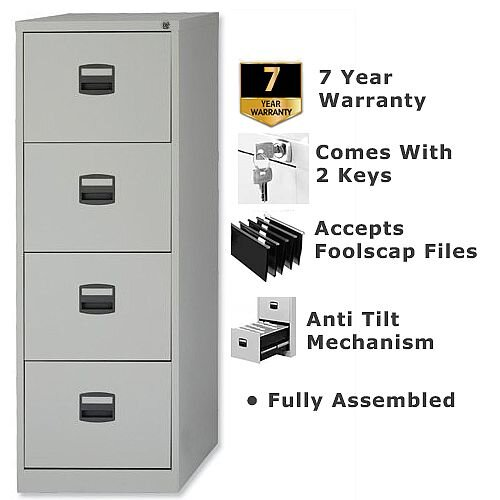 Exceptional 4 Drawer Steel Filing Cabinet Lockable Grey Trexus By Bisley
