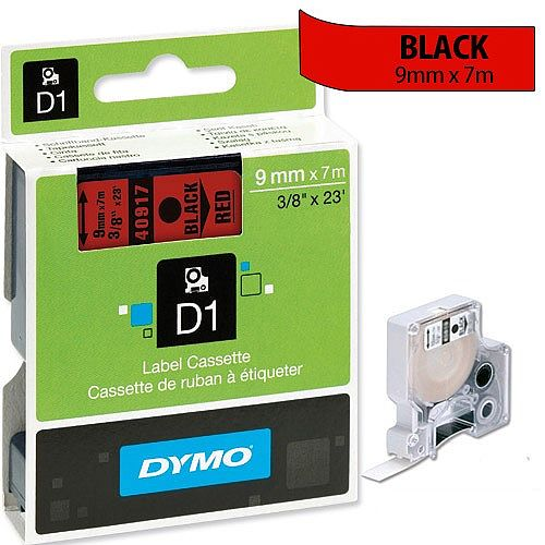 Dymo D1 Tape 40917 9mm x 7m Black on Red S0720720