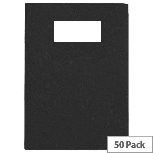 GBC Binding Covers Leatherboard Window 280gsm A4 Black 46705E Pack 25x2